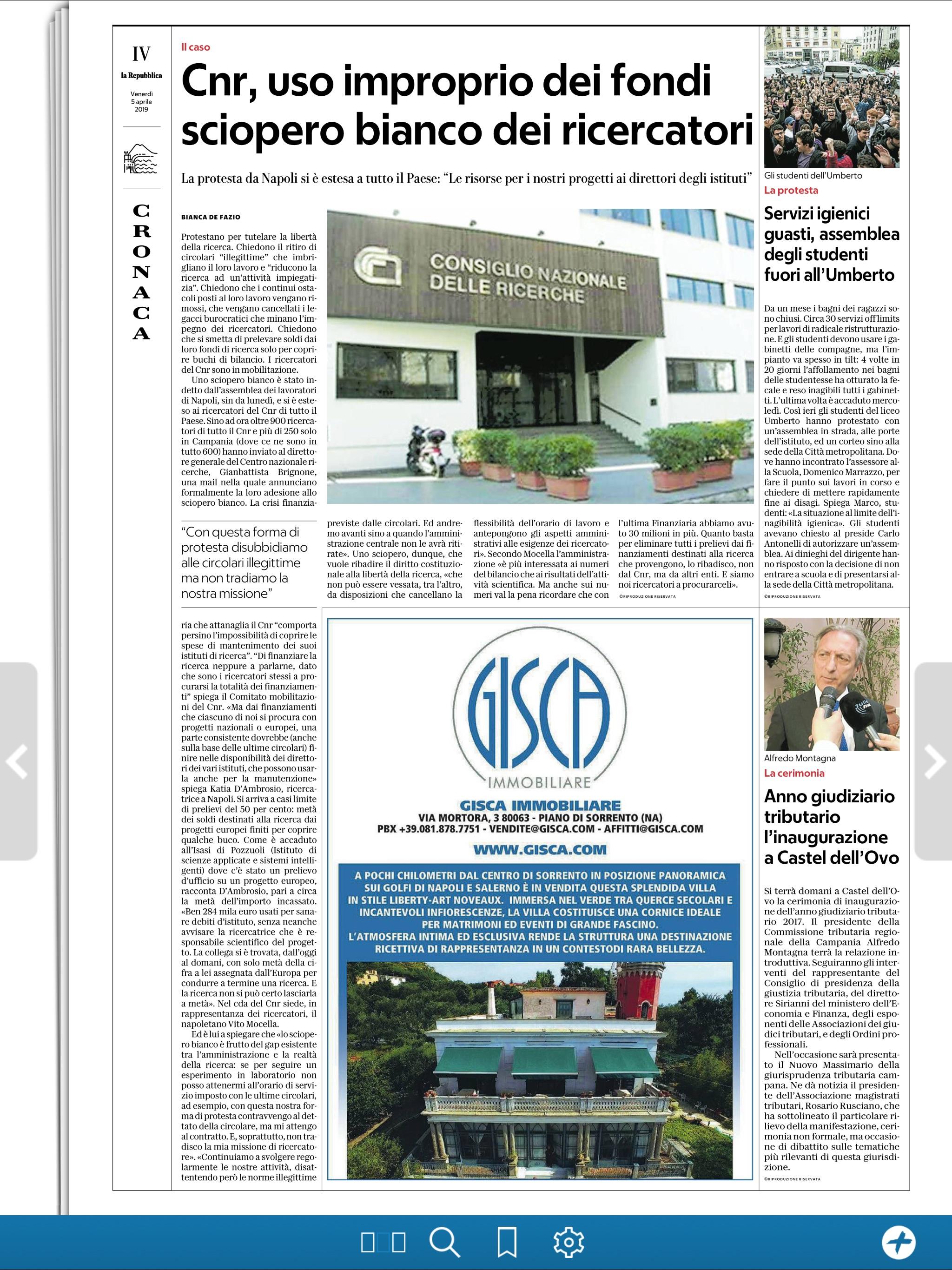 CNR: uso improprio dei fondi, sciopero bianco dei ricercatori